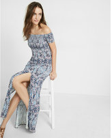 Express printed smocked off the shoulder maxi dress