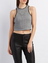 Charlotte Russe Ribbed Racer Front Crop Top