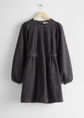And other stories Denim Puff Sleeve Mini Dress