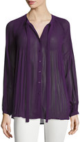 Romeo & Juliet Couture Self-Tie Neck Pleated-Yoke Blouse, Purple