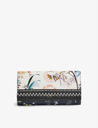 Ted Baker Decwin floral-print leather wallet-on-chain