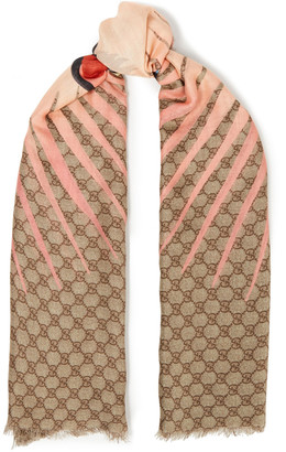 Gucci Fringed Printed Modal And Silk-blend Scarf