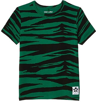 Mini Rodini Tiger Short Sleeve Tee (Infant/Toddler/Little Kids/Big Kids) (Green) Kid's Clothing