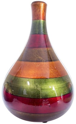 HomeRoots Green Red Brown Ceramic Lacquered Stripe Teardrop Bud Vase