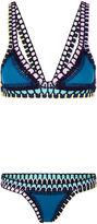 Kiini Teal Crochet Flor Bikini