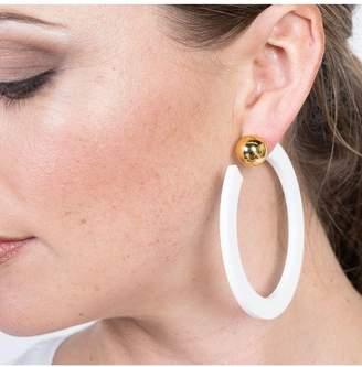 Kenneth Jay Lane White Resin Hoop With Gold Ball Pierced Earrings