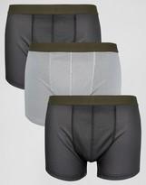 Asos Trunks In Gray Mesh 3 Pack