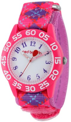 Girl' Red Balloon Pink Platic Time Teacher Watch - Pink