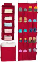 Sorbus Red Foldable Storage Box Cube Basket, Hanging Shelves, and Shoe Organizer - 3-Piece Set
