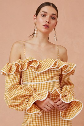 Keepsake SHALLOWS MIDI DRESS marigold check