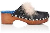 Fendi Women's Fur-Trimmed Buggies Clogs-BLACK, BLUE, PINK