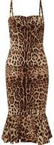 Dolce & Gabbana Ruched Leopard-print Silk-cady Midi Dress - Leopard print