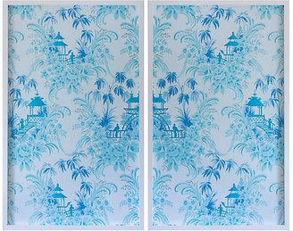 Dawn Wolfe Design Dawn Wolfe - Pale Blue Pagoda Wallpaper Diptych