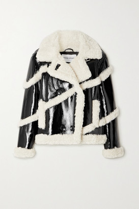 Stand Studio Melendy Faux Shearling-trimmed Faux Patent-leather Coat - Black