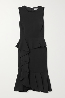 Michael Kors Ruffled Stretch-cady Dress - Black