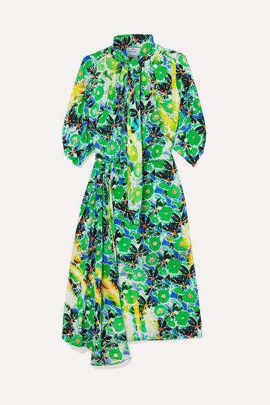 Prada Pussy-bow Floral-print Silk Crepe De Chine Midi Dress - Green