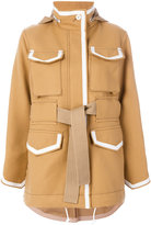 Sacai boxy oversized jacket - women - Cotton/Cupro/Wool - 1