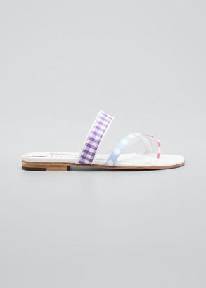 Manolo Blahnik Susa Flat Cotton Slide Sandals