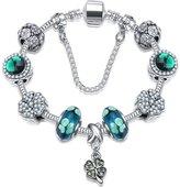 SECRETS-VIP Dark Antique Silver Rhinestone Charm Beads Fits Pandora Jewelry -With Leather Chain Free