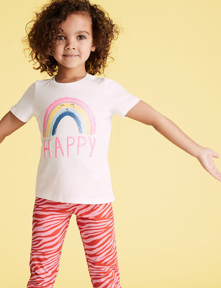 Marks and Spencer Pure Cotton Happy T-Shirt (2-7 Yrs)