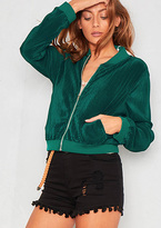 Missy Empire Jaclyn Green Pleated Bomber Jacket