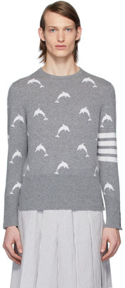 Thom Browne Grey Dolphin Half Drop Crewneck Sweater