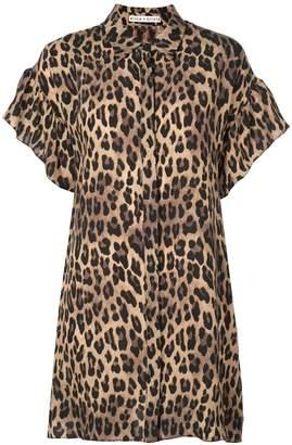 Alice + Olivia Alice+Olivia Jude leopard print shirt dress