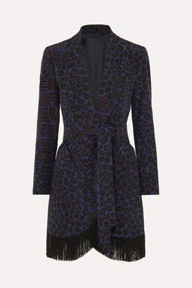 BLAZÉ MILANO Vayana Sunshine Belted Fringed Leopard-print Silk-crepe Blazer - Navy