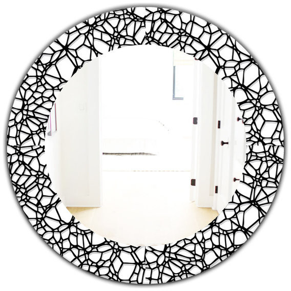 Design Art Designart Abstract Mosaic Pattern Frameless Oval Or Round Wall Mirror Shopstyle