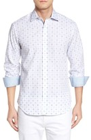 Bugatchi Men's Shaped Fit Geo Print Sport Shirt