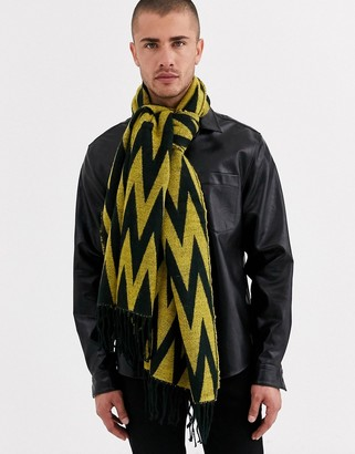 Asos Design DESIGN woven blanket scarf in black and yellow zig zag-Multi