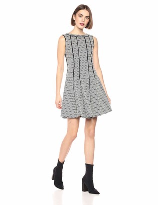 Taylor Dresses Women's Sleeveless Knit Jacquard fit and Flare Dress with Piping