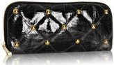 black distressed patent leather 'Stud' clutch