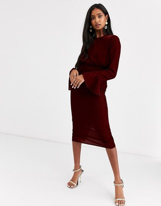 Asos Design DESIGN fluted sleeve midi pencil dress in velvet-Red
