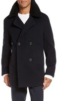 Vince Men's Wool Blend Peacoat With Genuine Shearling Collar
