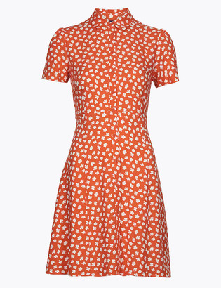 Marks and Spencer Ditsy Floral Empire Line Mini Shirt Dress