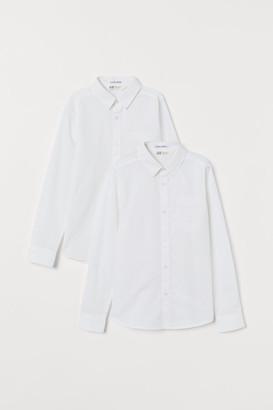 H&M 2-pack Easy-iron Shirts - White