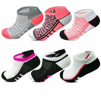 Socksology Womens Ankle Trainer Socks Non Slip For Running Jogging Walking Exercise Gym Fitness Workout Liners UK 4-8 (Mix Colours 12 Pairs)