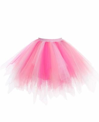 Timormode LXQCA Puffy Tulle Tutu Skirt Short Vintage Petticoat Princess Ballet Skirt Party Dress Up Coral Pink Rose M
