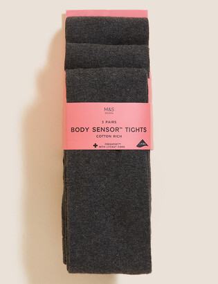 Marks and Spencer 3 Pack of Body Sensor School Tights (4-14 Yrs)
