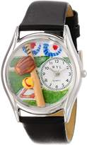 Whimsical Watches Women's S0820023 Softball Black Skin Leather Watch