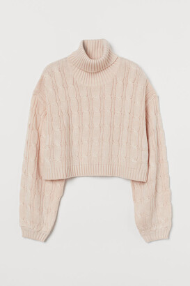 H&M Cable-knit Turtleneck Sweater - Pink