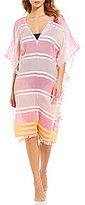 Echo Mambo Stripe Frayed Hem Caftan Swimsuit Cover-Up