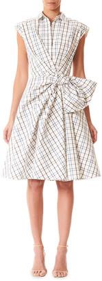 Carolina Herrera Bow-Waist Checkered Cap-Sleeve Shirtdress