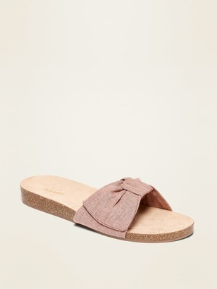 Old Navy Textile Bow-Tie Slide Sandals for Women