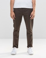 Asos Tapered Chinos In Dark Brown