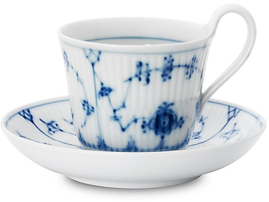 "Royal Copenhagen Blue Fluted Plain"" High Handle Tea Cup & Saucer"