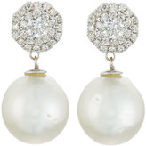Belpearl 18k Octagonal Diamond & Tahitian Pearl Drop Earrings