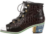 Rodarte Embossed Lace-Up Booties