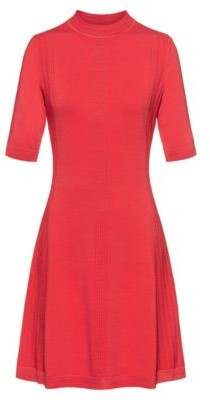 HUGO BOSS Knitted dress in stretch fabric with lace-effect details